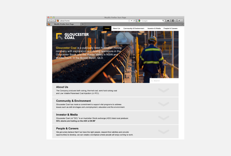 Gloucester Coal Website design